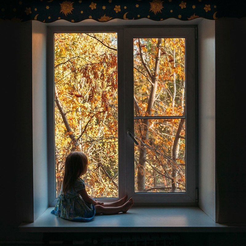 осень, ребенок, дети, девочка, окно, Осеньphoto preview