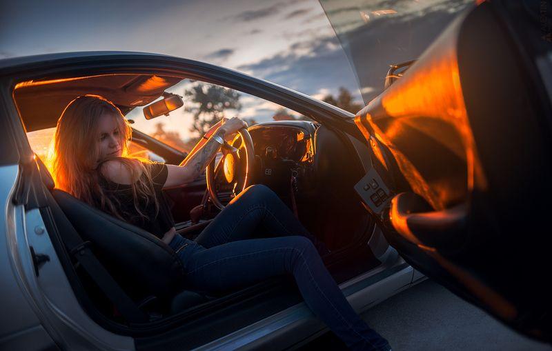 портрет, девушка, автомобиль, закат, Женя и ее Supraphoto preview