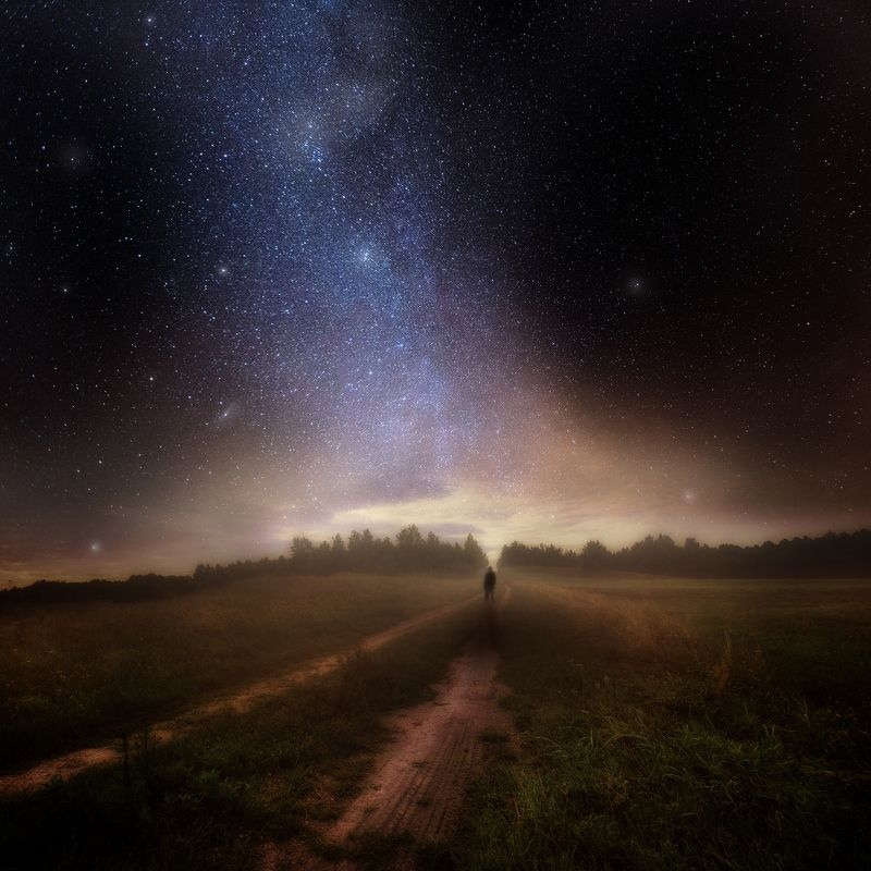 man, silhouette, night, landscape, poland, milky way, beautiful , dark Voyagephoto preview