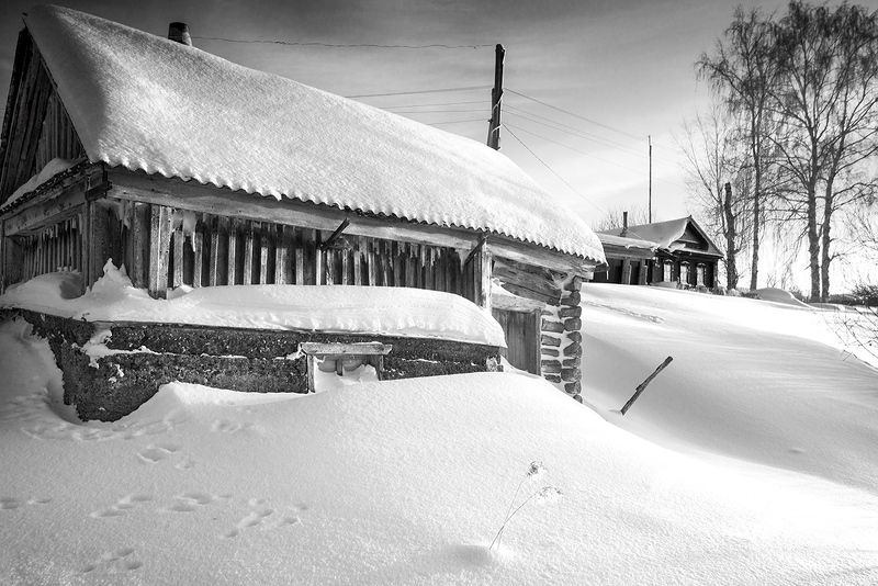 зима, деревня, баня Замело...photo preview