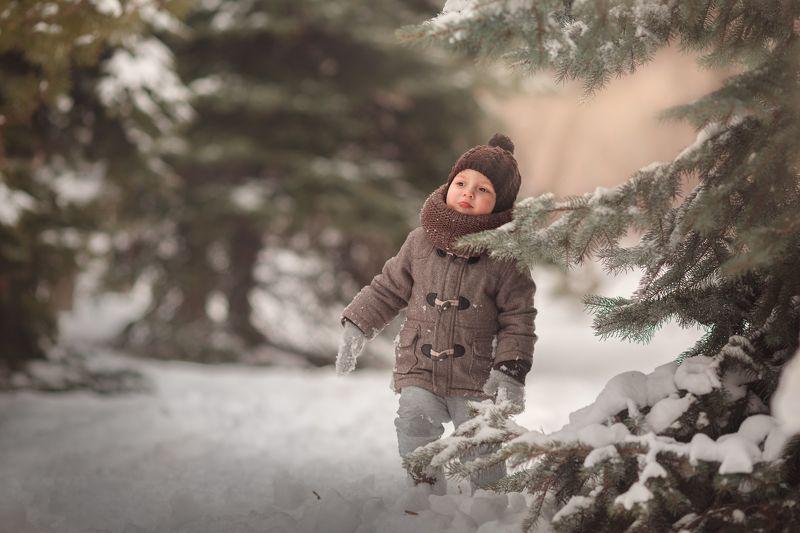 ребенок, дети, елки, лес, зима, снег Я из лесу вышелphoto preview