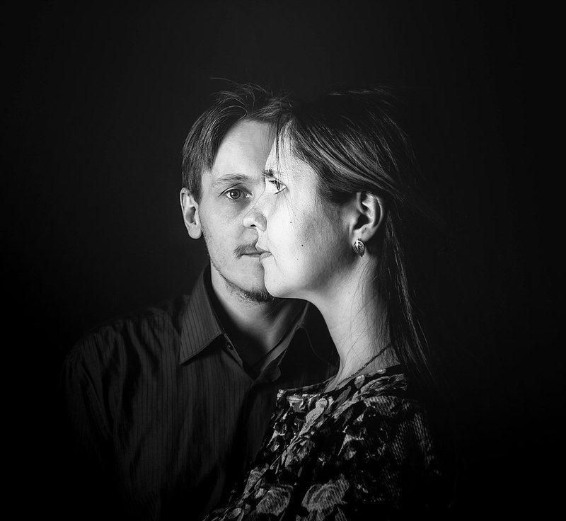 портрет, чб, двое, он, она, 2ephoto preview