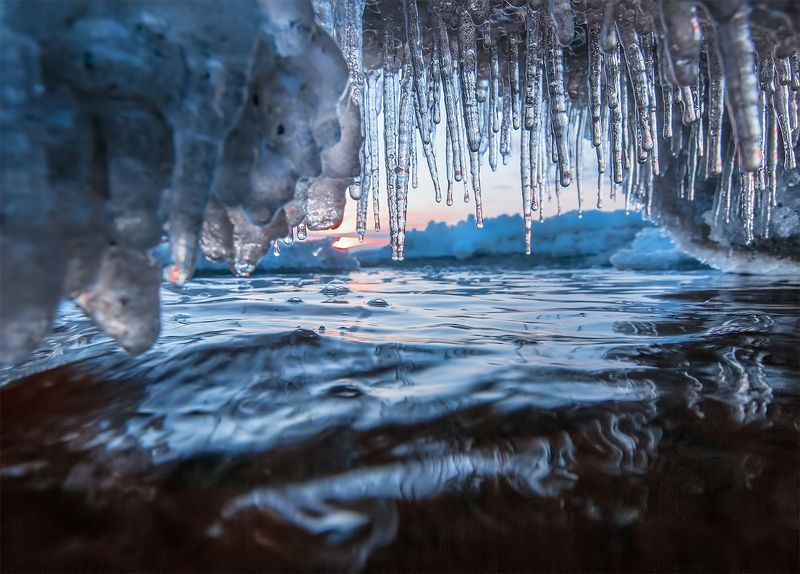 sunset,frost,winter,ice Ice coastphoto preview
