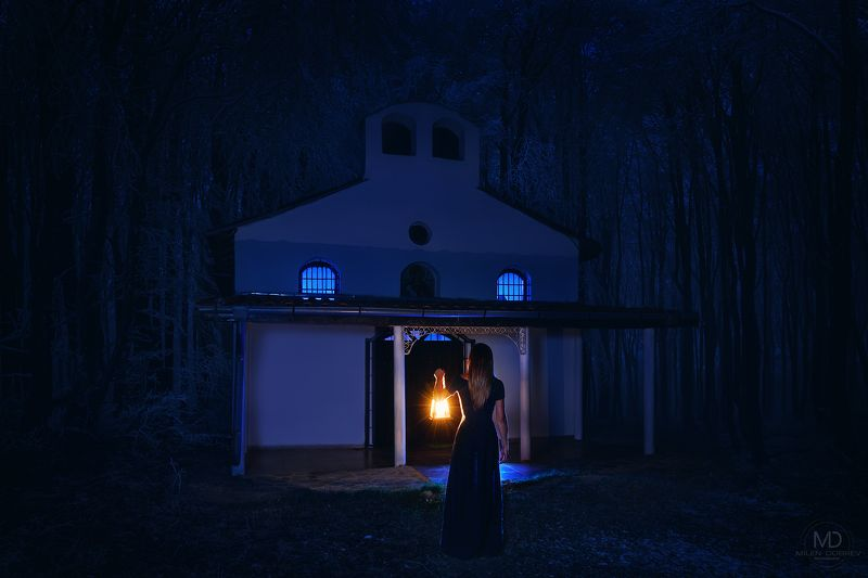 girl, beauty,dark, night, light, chapel Alone in the darknessphoto preview