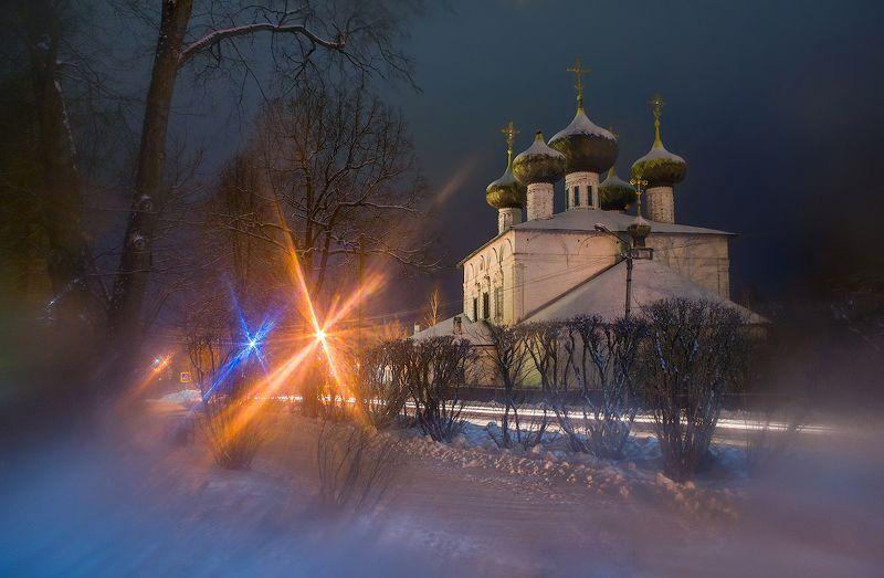 ночь город зима огни Ночная Устюжна (вазелин на стекле )photo preview