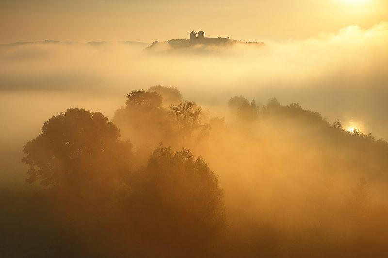 mist, gold, morning, air, sunrise, monastery, river, sun, Sunny bathphoto preview