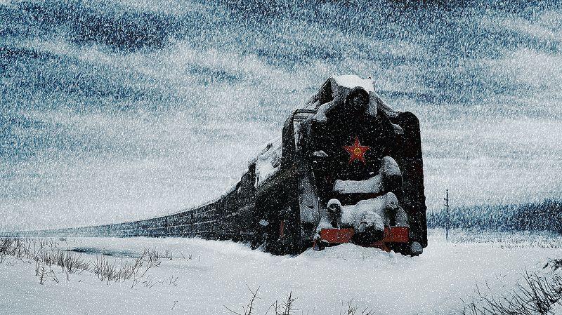 зима, паровоз, остановка, сугроб Звезда...photo preview