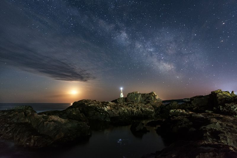 The Galaxy and the Moon over the lighthousephoto preview