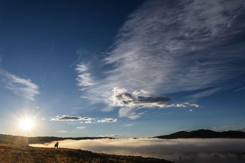 горы, туман, озеро, рассвет, восход, алтай, ештыкель, джангысколь, mountains, fog, lake, dawn, sunrise, altai Туман над озеромphoto preview
