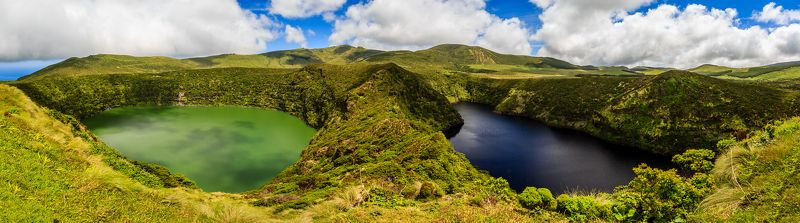 azores island, flores island, lagoe funda and lagoe comprida, twins lakes Lagoa Funda and Lagoa Comprida in Flores islandphoto preview