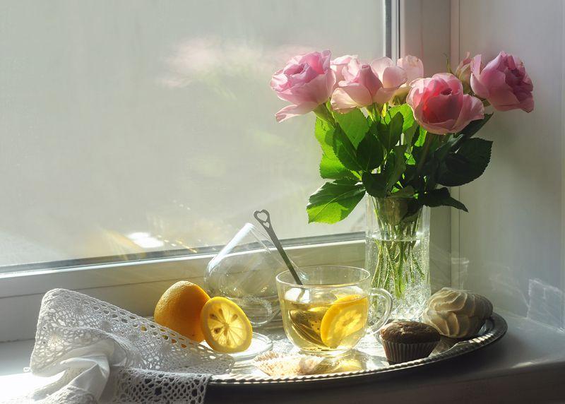 утро, розы, окно, солнечно, чай, лимон, натюрморт В одно солнечное февральское утро...photo preview