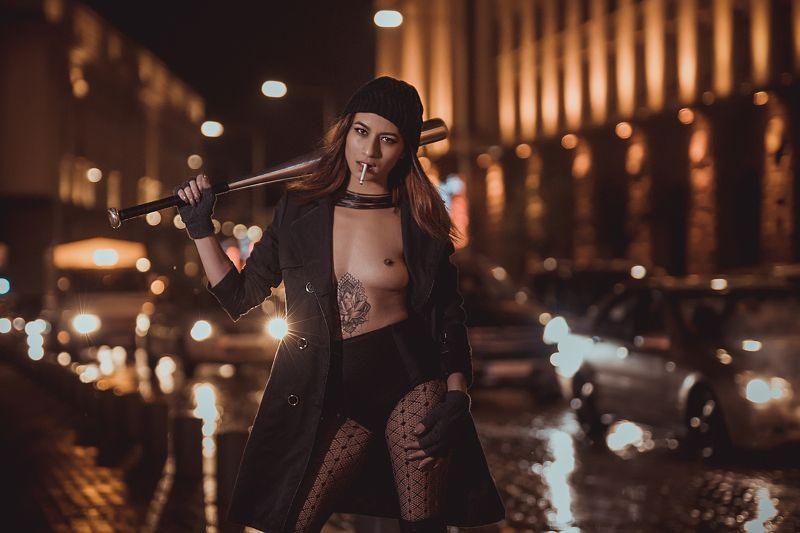 girl, night, urban, sexy, naked, tattoo, riot, bad Riotphoto preview