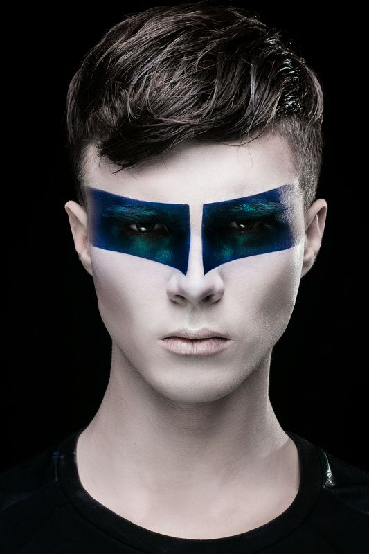 portrait, man, boy, art, makeup, idea, look, fashion, style, black, blue space boyphoto preview