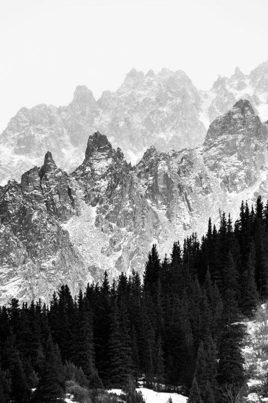 горы, зима, пейзаж, ели, скалы, деревья, Многослойностьphoto preview