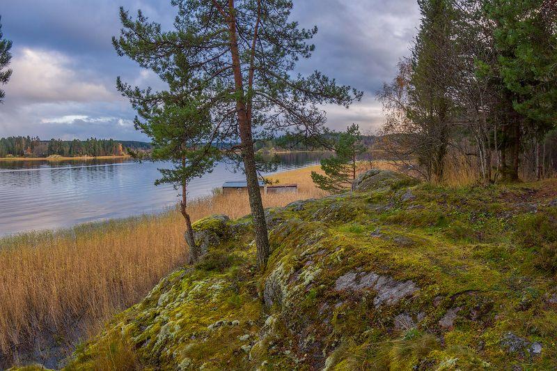 озеро ладога карелия вечер облака берег мостик ладожское штиль осень осенний штиль на Ладогеphoto preview