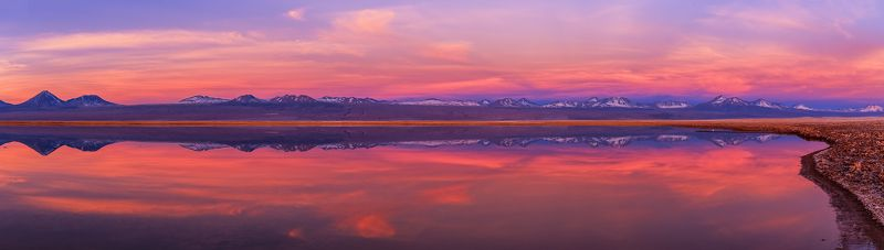laguna tebenquiche, reflection, atacama, chile, sunset Reflectionphoto preview