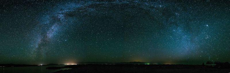 природа, пейзаж, ночь, озеро, звезды Панорама Млечного Путиphoto preview