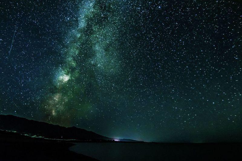 природа, пейзаж, ночь, озеро, звезды, горы Ночное небоphoto preview
