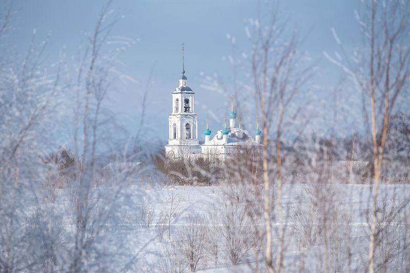 иней, храм, церковь, береза, мороз, зима Невесомостьphoto preview