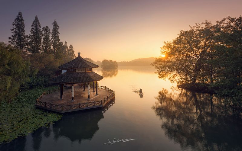 landscapes,sunrise,light,lake,china, West Lakephoto preview