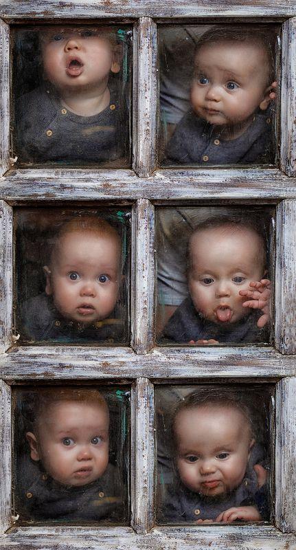 люди, дети, потрет, глаза, эмоции, взгляд, окно, тектсура, двойняшки, коллаж, фотокузница, ivankovale Эмоциональная лестницаphoto preview