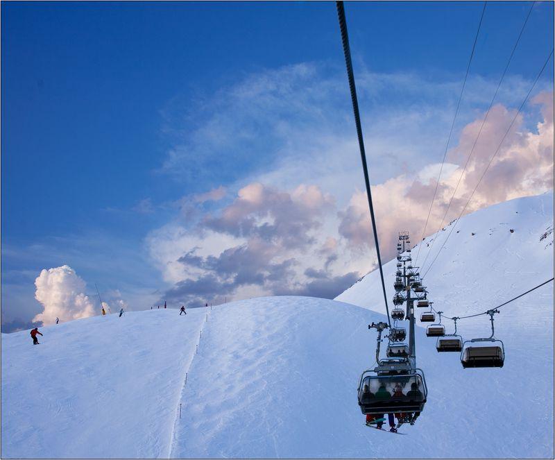 австрия Ишгль Ishgl канатка склон небо облака Канатка в небоphoto preview
