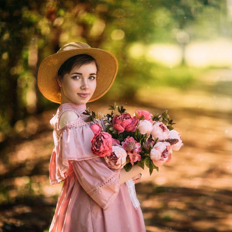girl summer пионы девушка шляпа Анастасияphoto preview