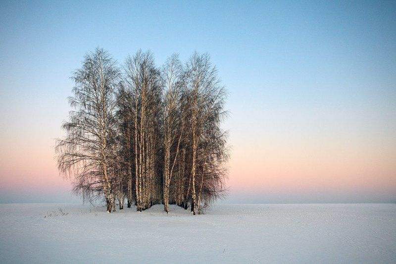 russia, tambov, lysye gory, winter, snow, sunset Frozen Spacephoto preview