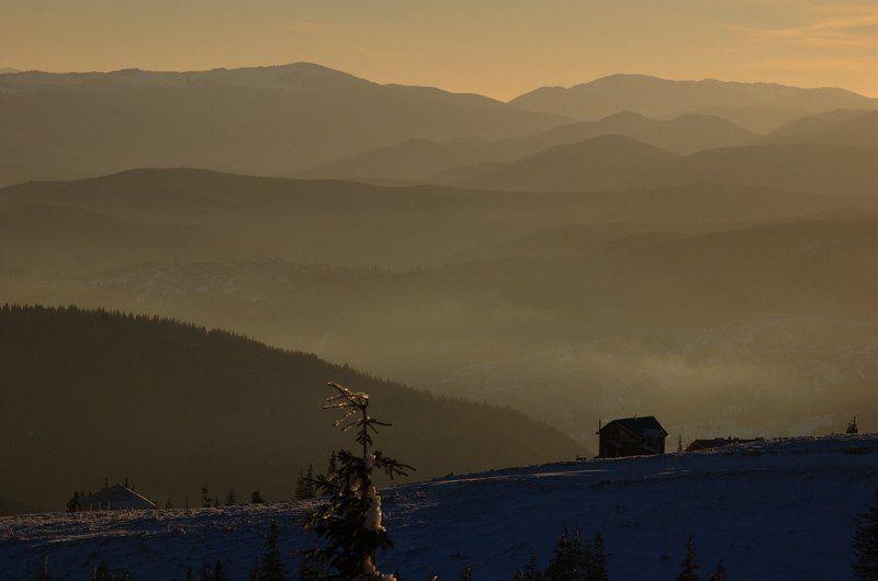 горы, утро, зима, мороз Карпатские холмыphoto preview