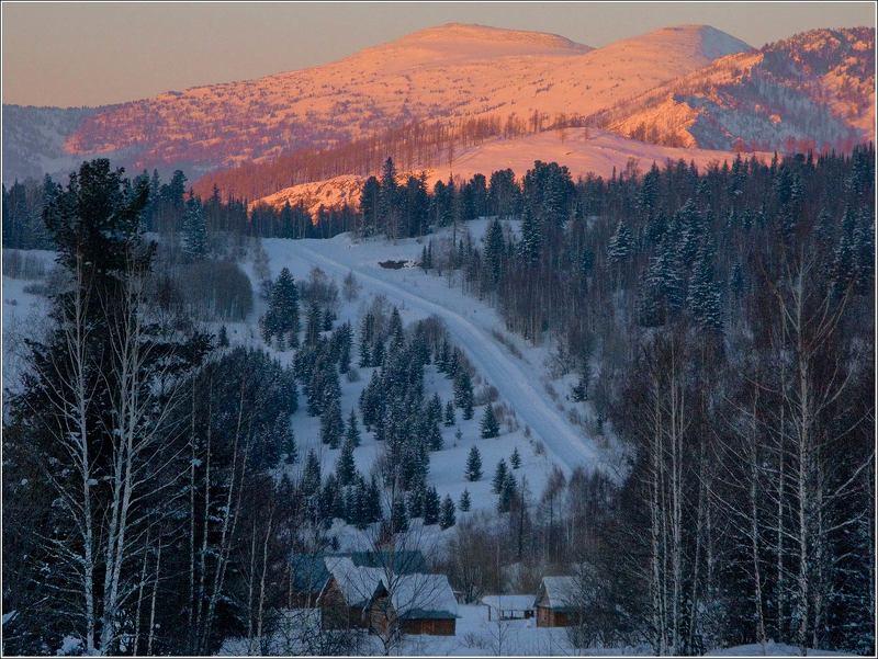 зима, снег, закат, лес , солнце Дорога к солнцуphoto preview