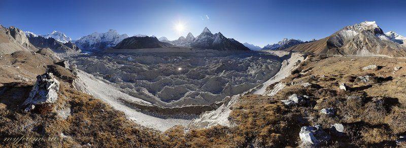 ледник, ngozumpa, gliacier, гималаи, непал, нгозумба У излучины каменной рекиphoto preview