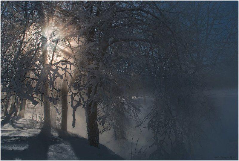 Вечер у зимней рекиphoto preview