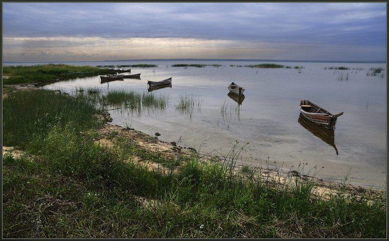 белорусь, браслав, дривяты, озеро, берега, лодки, тростник, вечер, облака После трудового дняphoto preview
