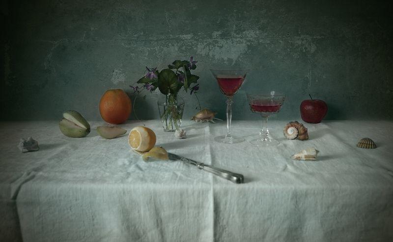 wine, fruits, shells, lemon, orange, apple, glass, texture wine and fruitsphoto preview