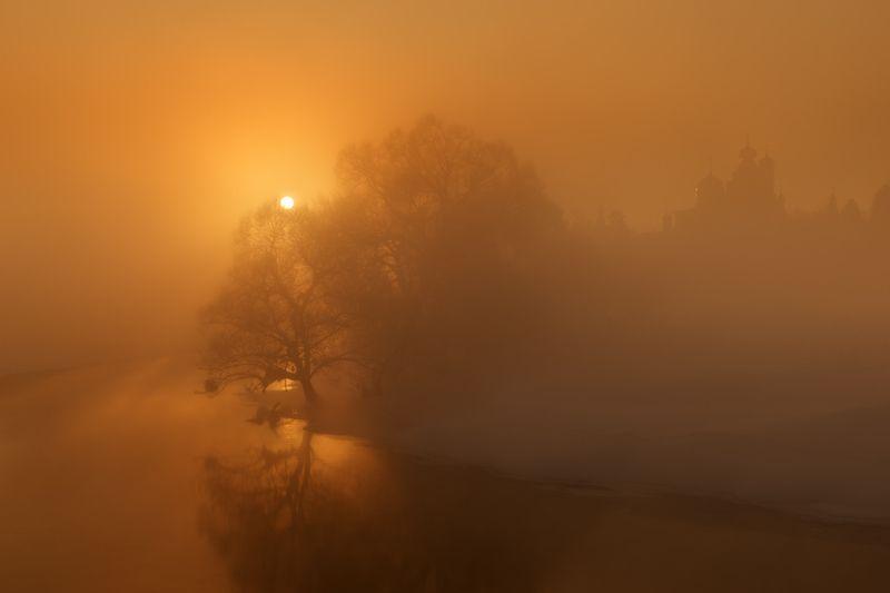 солнце, рассвет, река, мороз, зима, сне, дерево, свет Когда просыпается солнцеphoto preview