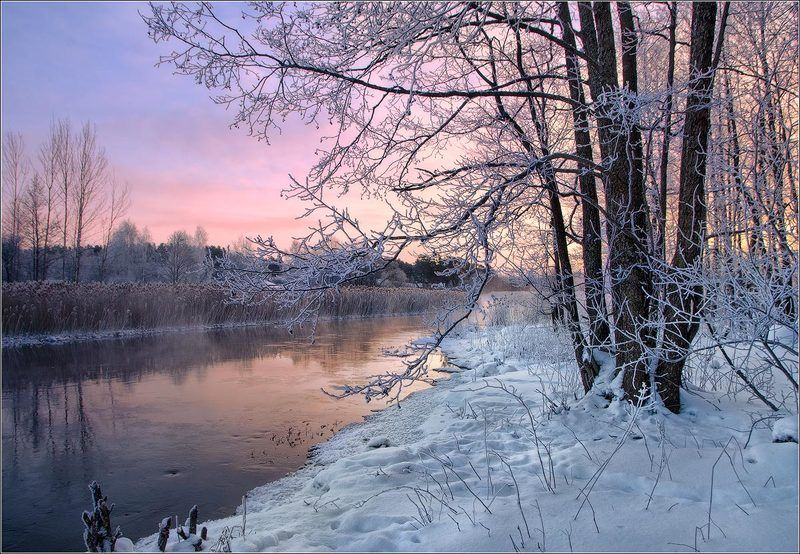 утро, рассвет, река, зима, беларусь ***photo preview