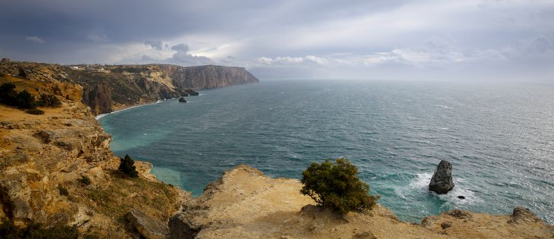 крым, берег, скалы, море, волны, небо, облака, пейзаж, природа, мыс, фиолент, Фиолент.photo preview