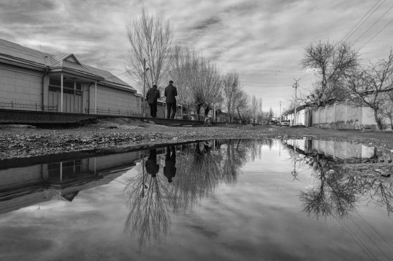 отражение, стрит, черно-белое, улица, кыргызстан, средняя азия, reflection, water, street, ***photo preview
