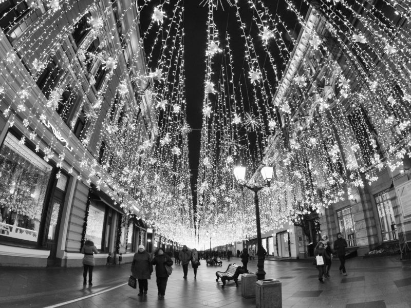 Street, Landscape, Highlights, Moscow, Russia, Black and white, Monochrome Nikolskaya street in winterphoto preview