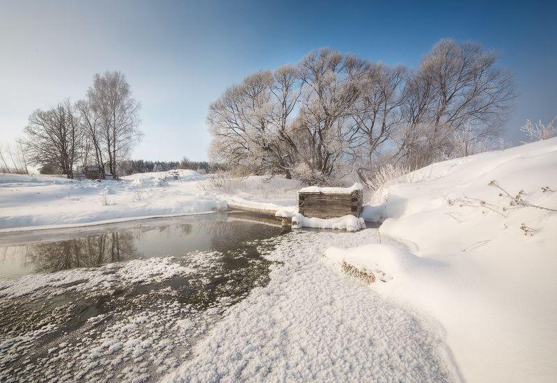 winter, frost, water, ice,snow, мороз, зима, утро, пейзаж. лед, иней Морозное утро у источникаphoto preview