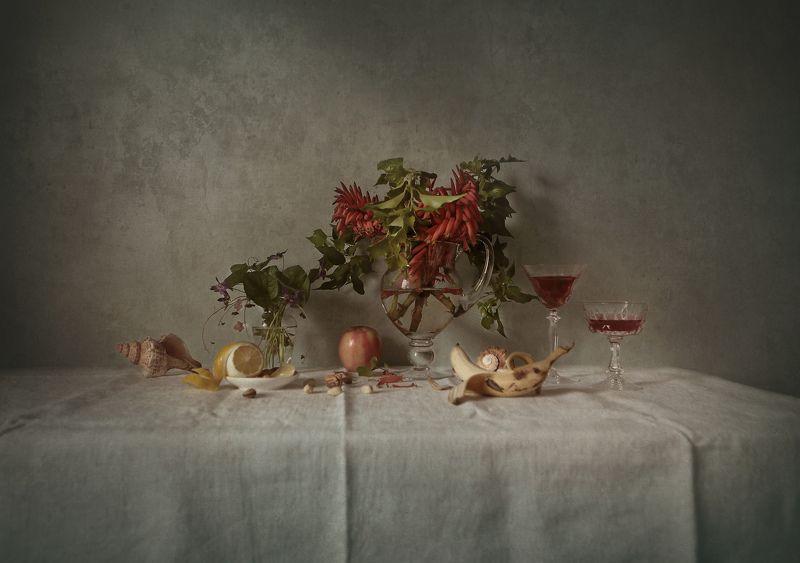 wine, flowers, lemon, glass, shells ***photo preview