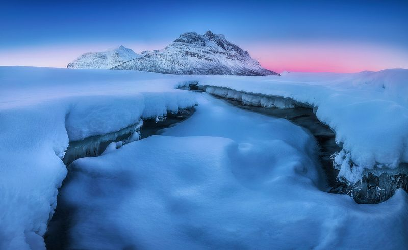 skoddebergvatnet norway sunrise snow winter landscape  skoddebergvatnet фото превью