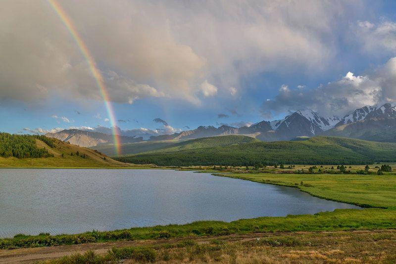 радуга, озеро, лето, джангысколь, ештыкель, алтай, rainbow, lake, summer, altai После дождя...photo preview