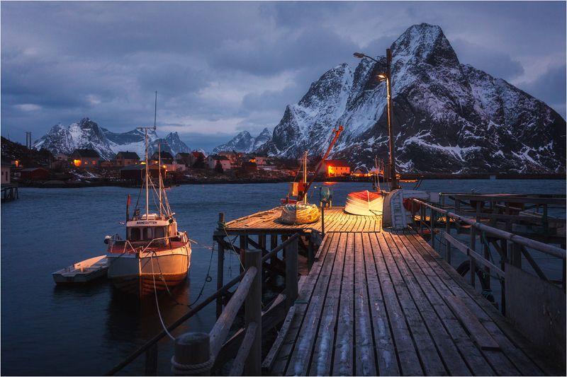 лофотенские острова, норвегия.причал, Утро на причале...photo preview