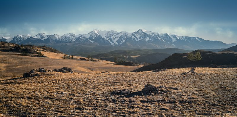 пейзаж, природа, горы, вершины, хребет, степь, долина, вечер, снег, ледники, камни, скалы, высокий, большой, красивая, Алтай, Сибирь, Курай, Чуйский Северо-Чуйский в вечернем светеphoto preview