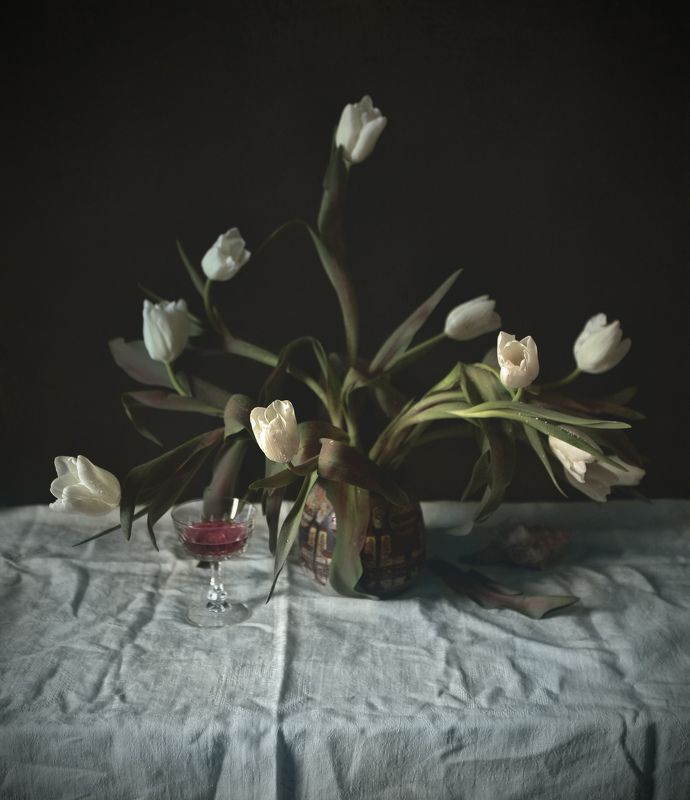 white, tulips, flowers, wine, glass, shell White Tulipsphoto preview