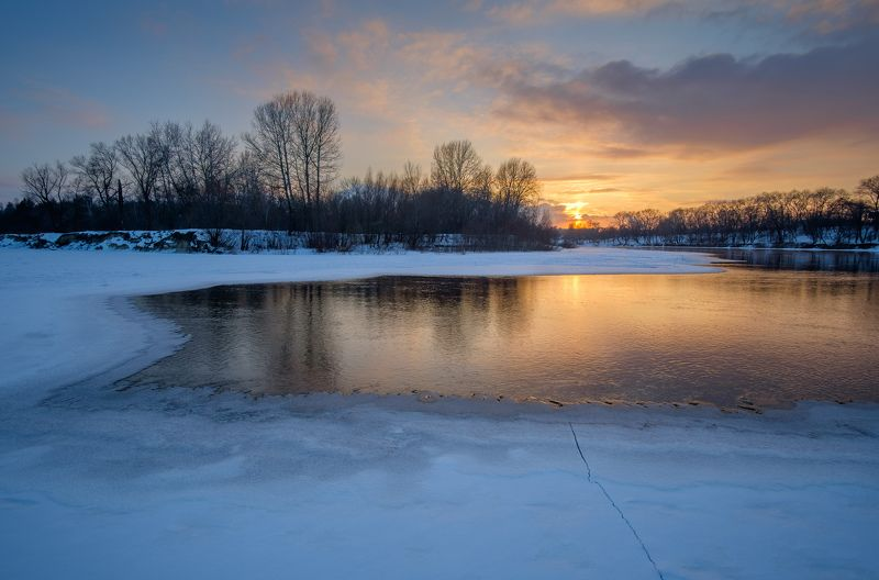 пейзаж,природа,река,зима,снег,мороз,landscape,nature,rivers,frosty,sunset Зимняя рекаphoto preview
