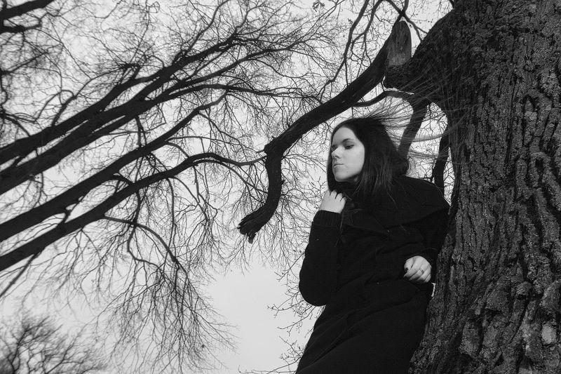 девушка, лес, ветви, ветер, тревога, волосы, беспокойство, портрет Беспокойство.photo preview