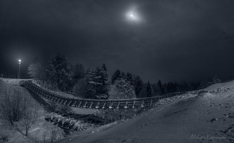 природа, север, ночь, луна, мост Лунная ночьphoto preview