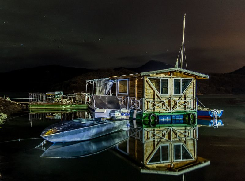 #port#night#mirrors#boat#lake#star#landscape#nature#adventure photo preview